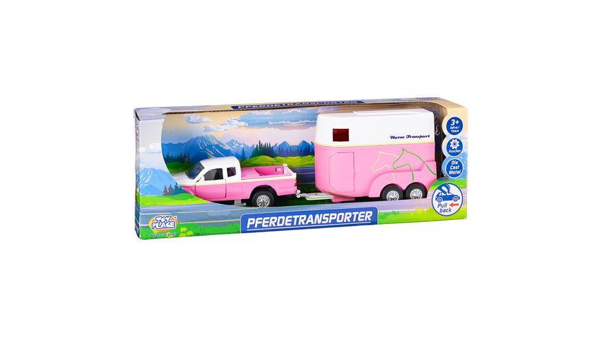 Müller - Toy Place - Pferdetransporter mit zu öffnenden Türen Die Cast Metal Pull back