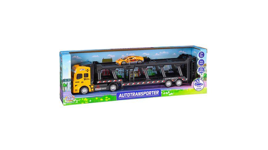 Müller - Toy Place - Autotransporter mit Freilauf Funktion Fahrzeug mit Pull back Funktion Die Cast Metal