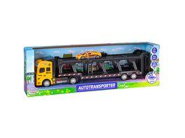 Mueller Toy Place Autotransporter mit Freilauf Funktion Fahrzeug mit Pull back Funktion Die Cast Metal