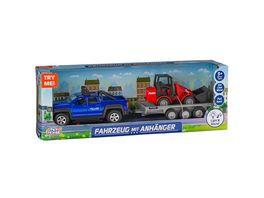 Mueller Toy Place Fahrzeug mit Anhaenger und Radlader Die Cast Metal Light Sound Geschenk fuer Kinder ab 5 Jahren
