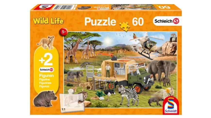 Schmidt Spiele Kinderpuzzle Schleich Wild Life Abenteuerliche Tierrettung 60 Teile 2 Schleich Figuren