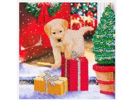 Craft Buddy Crystal Art Card Kit Labrador Pup 18 x 18 cm