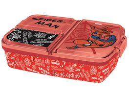 p os Handel Spiderman Sandwich Box dreigeteilt