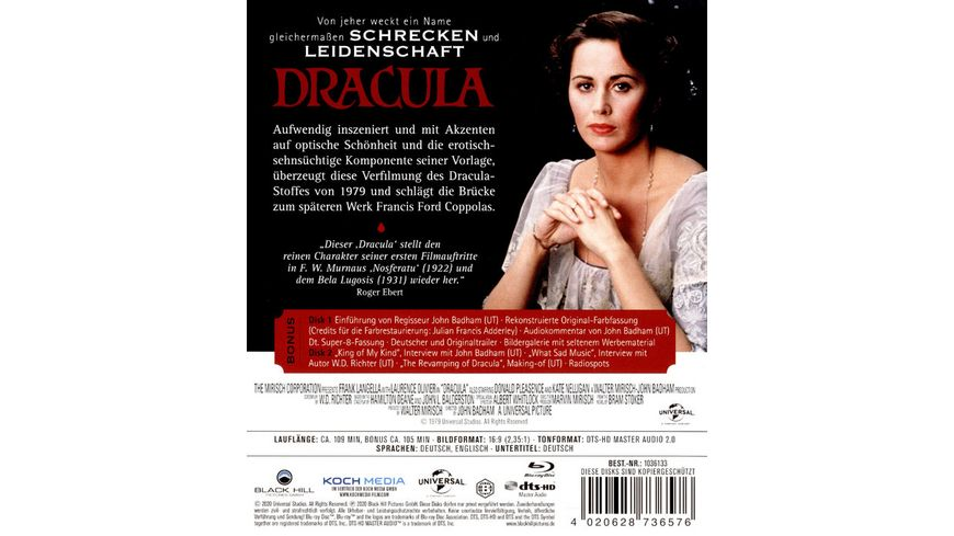 Dracula 1979 Cinema Edition Bonus DVD