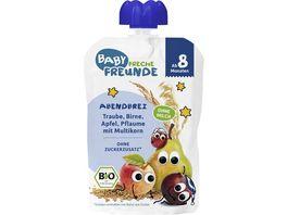 Freche Freunde Bio Abendbrei Traube Birne Apfel Pflaume mit Multikorn