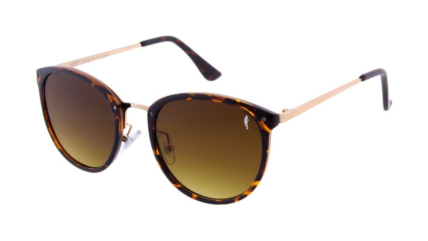 GNTM Sonnenbrille Havanna Braun mit goldenen Bügeln