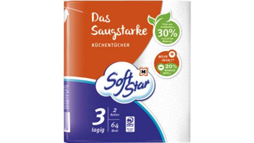 SoftStar Das Saugstarke Küchentücher 2x64 Blatt, 3-lagig