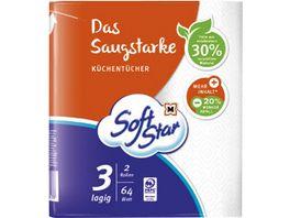 SoftStar Das Saugstarke Kuechentuecher 2x64 Blatt 3 lagig