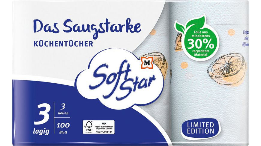 SoftStar Das Saugstarke Küchentücher 3x100 Blatt, 3-lagig