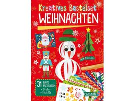 Kreatives Bastelset Weihnachten Set mit 33 bunten Papierboegen Vorlagen zum Heraustrennen Stickern und Falzhilfe