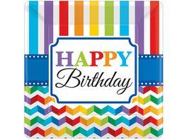 Amscan Teller Bright Birthdayviereckig 18x18cm 8 Stueck