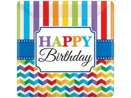 Amscan Teller Bright Birthdayeckig 25 4 cm 8St