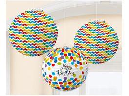 Amscan Lampions Bright Birthday 3 Stueck