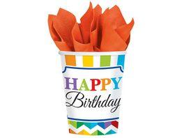 Amscan Becher Bright Birthday 266 ml 8 Stueck