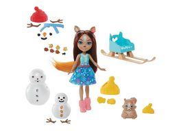 Mattel Enchantimals GNP16 Schneemann Deko Spass Spielset mit Sharlotte Squirrel Walnut