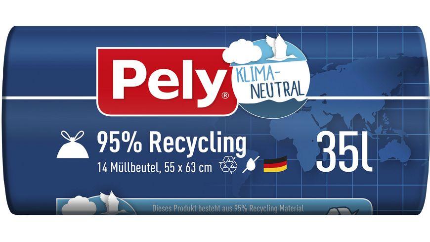Pely® KLIMA-NEUTRAL 95% Recycling Zugband-Beutel, 35 Liter