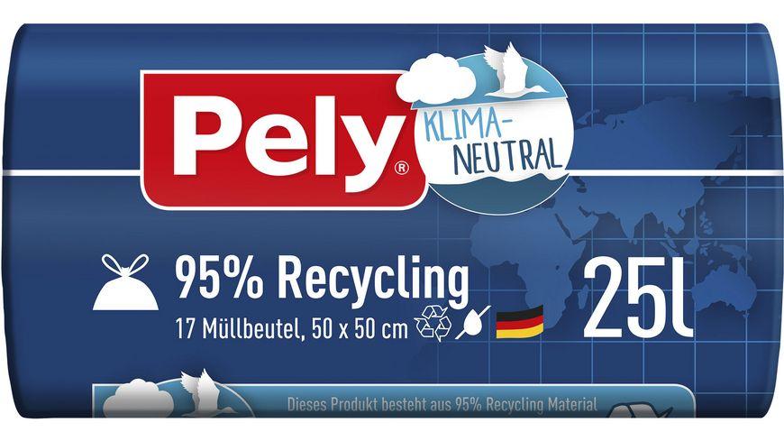 Pely® KLIMA-NEUTRAL 95% Recycling Zugband-Beutel, 25 Liter