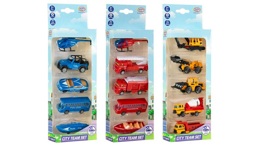 Müller - Toy Place - City Team Set - 5 Fahrzeuge, 3-fach sortiert, 1 Stück