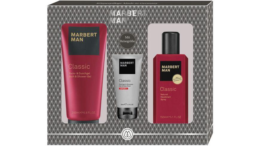 MARBERT Man Classic Set Bade- & Duschgel + Natural Deodorant Spray + Sport Bade- & Duschgel