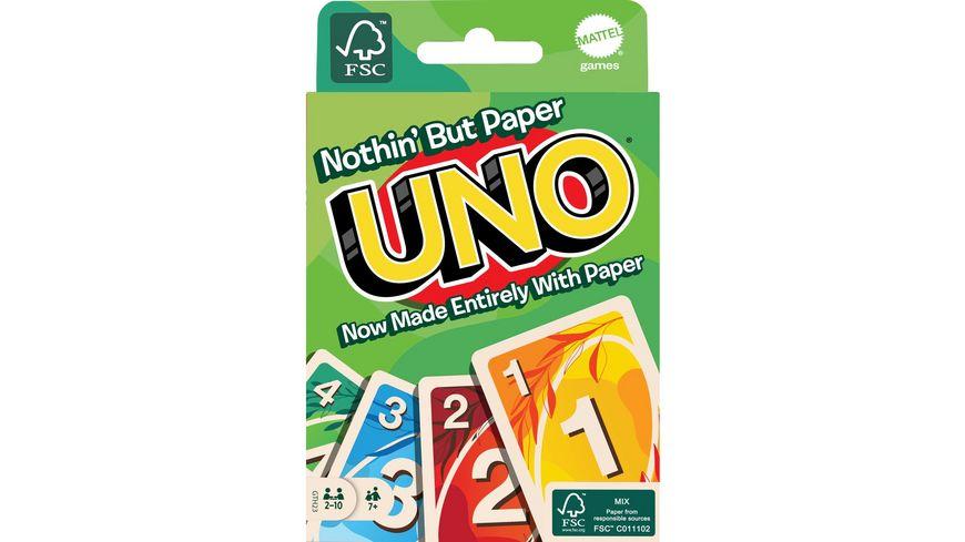 Mattel Games UNO 100% Papier Kartenspiel, plastikfrei, recycelbar, Familienspiel