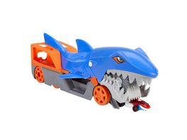 Hot Wheels Hungriger Hai Transporter fuer bis zu 5 Spielzeugautos