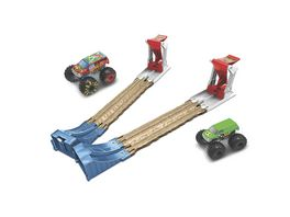 Hot Wheels Monster Truck Doppel Rampe inkl 2 Spielzeugautos Spielset