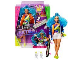 Barbie Extra Puppe mit blauen Haaren und Skateboard inkl Haustier