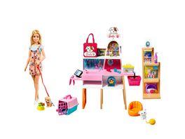 Barbie Haustier Salon Spielset mit Puppe Anziehpuppe mit Zubehoer