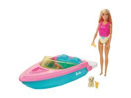 Barbie Boot Spielset mit Puppe inkl Haustier Huendchen und Zubehoer