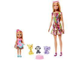 Mattel Barbie Barbie und Chelsea Dschungelabenteuer Barbie und Chelsea Spielset mit Zubehoer