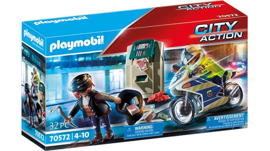 PLAYMOBIL 70572 - City Action - Polizei-Motorrad: Verfolgung des Geldräubers