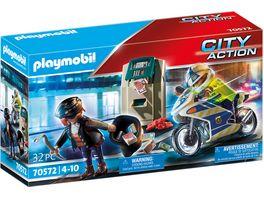 PLAYMOBIL 70572 City Action Polizei Motorrad Verfolgung des Geldraeubers
