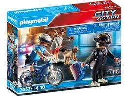 PLAYMOBIL 70573 City Action Polizei Fahrrad Verfolgung des Taschendiebs