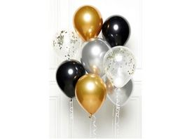 Amscan DIY Balloon Bouquet Black Gold Silver 8 Balloons