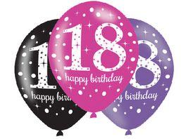 Amscan 6 Latex Balloons Pink Celebration Age 18 27 5 cm