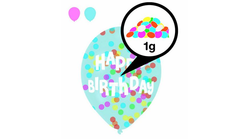 Amscan -  6 Latex Balloons Droplets Happy Birthday 1C Confetti Filled assorted Paper 27.5 cm