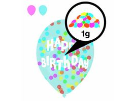 Amscan 6 Latex Balloons Droplets Happy Birthday 1C Confetti Filled assorted Paper 27 5 cm