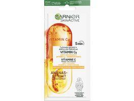 GARNIER SkinActive Ampullen Tuchmaske Anti Muedigkeit mit Vitamin C Ananas Extrakt
