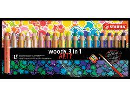 STABILO Buntstift Wasserfarbe Wachsmalkreide STABILO woody 3 in 1 ARTY 18er Pack mit Spitzer und Pinsel