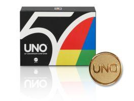 Mattel Games 50 Jahre UNO Premium Jubilaeumsedition mit Muenze Kartenspiel