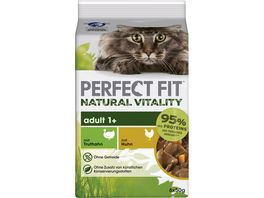 PERFECT FIT Katze Portionsbeutel Natural Vitality Adult 1 mit Truthahn und mit Huhn Multipack