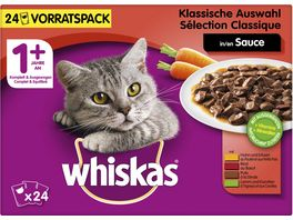 WHISKAS Portionsbeutel Multipack 1 Klassische Auswahl in Sauce 24 x 100g