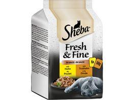 SHEBA Portionsbeutel Multipack Fresh Fine in Sauce mit Huhn und Truthahn 6 x 50g