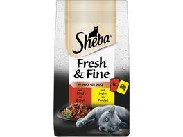 Sheba Portionsbeutel Multipack Fresh Fine in Sauce mit Rind und Huhn