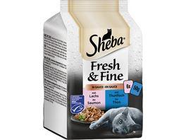 SHEBA Portionsbeutel Multipack Fresh Fine in Sauce mit Lachs und Thunfisch MSC 6 x 50g