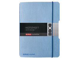 herlitz my book flex Notizbuch Leinen A6 40 Blatt punktiert hellblau
