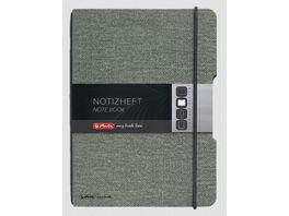 herlitz my book flex Notizbuch Leinen A6 40 Blatt punktiert grau
