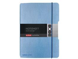 herlitz my book flex Notizbuch Leinen A5 40 Blatt punktiert hellblau
