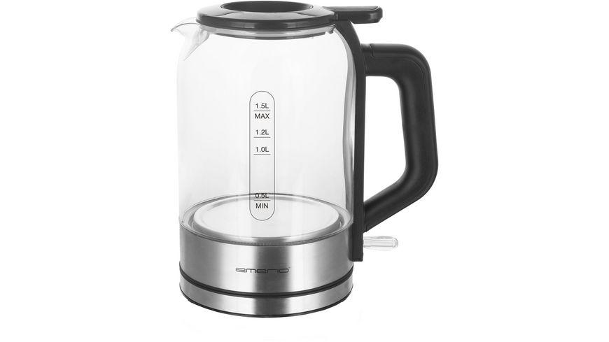 emerio Wasserkocher Glas mit Smart lid Deckel
