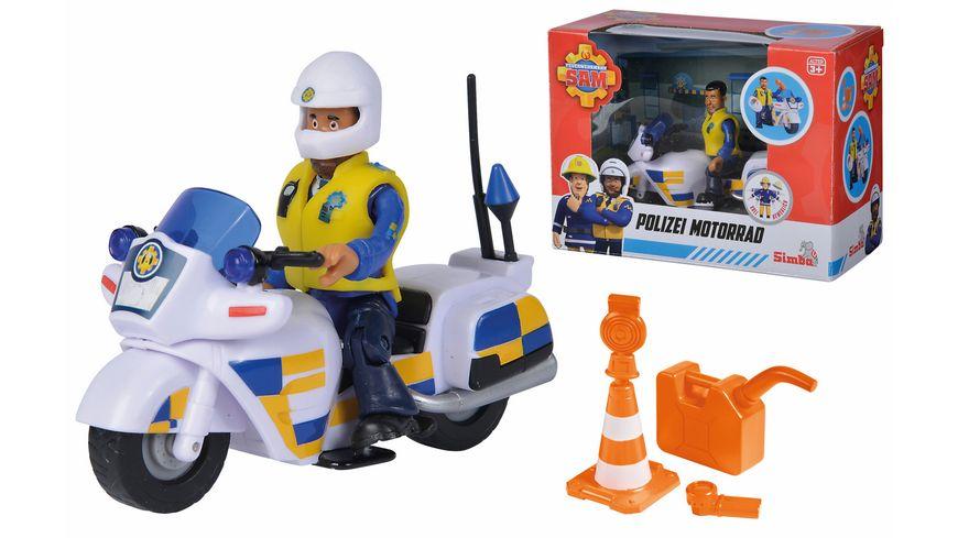 Simba - Feuerwehrmann Sam - Polizei Motorrad inkl. Polizist Malcom Figur und Zubehör